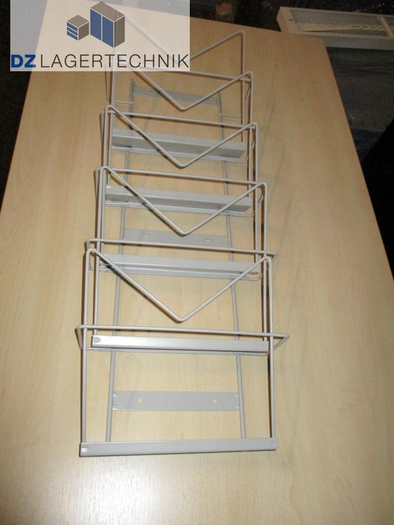 prospekthalter metall wei din a4 hochk 5 f cher zeitschriftenhalter wandhalter ebay. Black Bedroom Furniture Sets. Home Design Ideas