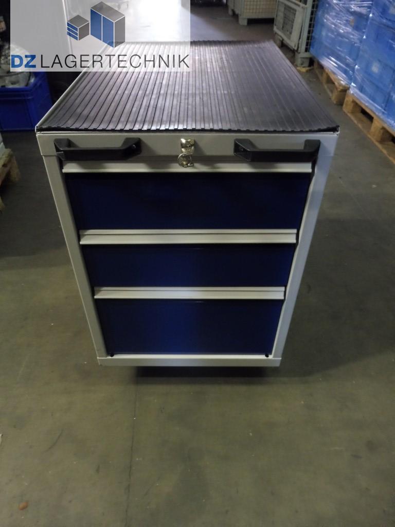 Schubladenschrank mit 3 Schubladen blau Rollen Werkstattschrank ...