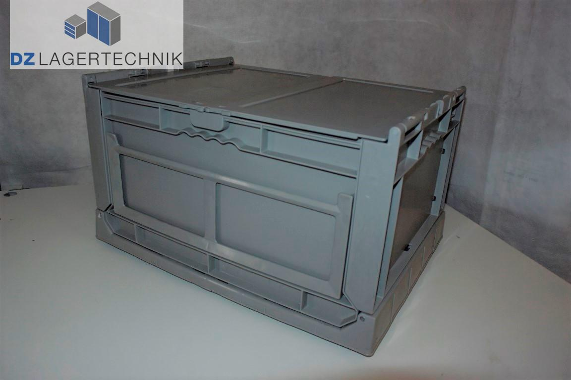 4x faltbox mit deckel im euro ma grau kasten box kiste. Black Bedroom Furniture Sets. Home Design Ideas